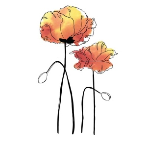 Rubbernecker Stamps - Poppies Small Stamp Set