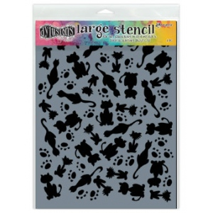 Ranger - Dyan Reaveley - Dylusions - Stencils - It's Raining Cats - Large