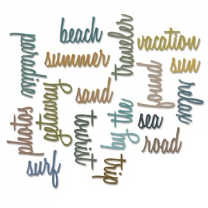 Sizzix - Tim Holtz Alterations - Thinlits - Vacation Words - Script 18 Pack Die Set