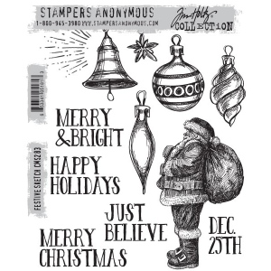 Stampers Anonymous - Tim Holtz - Festive Sketch Stamps