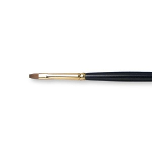 Natural Pigments Kolinsky Bright Brush Size 4 - Brush Style: Bright; Ferrule: Gold-plated brass; Size: 4; Hair Width: 4.6 mm (1/8 in.); Hair Length: 8 mm (3/8 in.)