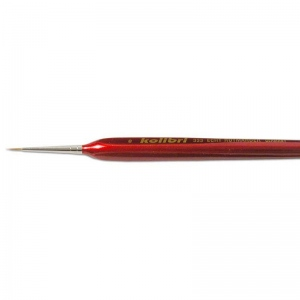 Natural Pigments Red Sable Detail Brush Size 2/0 - Brush Style: Round; Ferrule: Silver-plated brass; Size: 2/0; Hair Width: 1 mm (1/16 in.); Hair Length: 7 mm (1/4 in.)