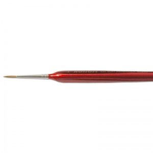 Natural Pigments Red Sable Detail Brush Size 2 - Brush Style: Round; Ferrule: Silver-plated brass; Size: 2; Hair Width: 2 mm (3/32 in.); Hair Length: 11 mm (14/32 in.)