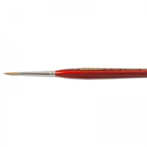 Natural Pigments Red Sable Detail Brush Size 4 - Brush Style: Round; Ferrule: Silver-plated brass; Size: 4; Hair Width: 3 mm (1/8 in.); Hair Length: 14 mm (1/2 in.)