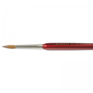 Kolibri Red Sable Detail Brush Size 8 - Brush Style: Round; Ferrule: Silver-plated brass; Size: 8; Hair Width: 5 mm (3/16 in.); Hair Length: 20 mm (13/16 in.)