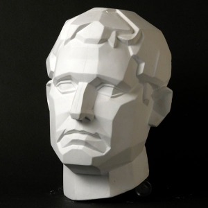 Natural Pigments Drawing Plaster Cast Male Face (Planar)