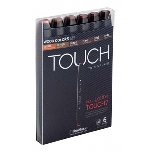 ShinHan Art TOUCH Twin Wood Colors 6-Piece Marker Set: Black, Brown, Double-Ended, Alcohol-Based, Refillable, Dual, (model 1100610), price per set