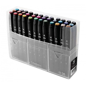 ShinHan Art TOUCH Twin 36-Color Fine & Broad Nib Marker Set: Black, Double-Ended, Alcohol-Based, Refillable, Dual, (model 1103600), price per set