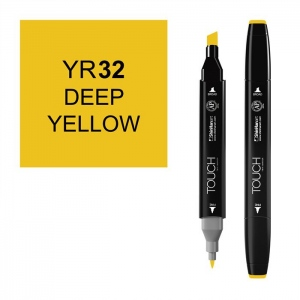 ShinHan Art TOUCH Twin Deep Yellow Marker: Black, Yellow, Double-Ended, Alcohol-Based, Refillable, Dual, (model 1110032-YR32), price per each
