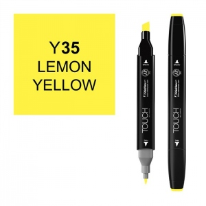 ShinHan Art TOUCH Twin Lemon Yellow Marker: Black, Yellow, Double-Ended, Alcohol-Based, Refillable, Dual, (model 1110035-Y35), price per each
