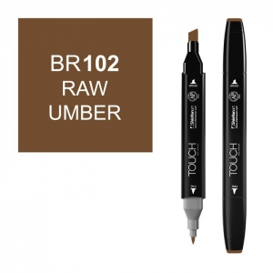 ShinHan Art TOUCH Twin Raw Umber Marker: Black, Brown, Double-Ended, Alcohol-Based, Refillable, Dual, (model 1110102-BR102), price per each