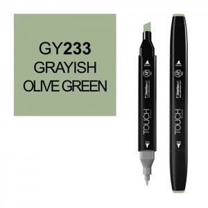 ShinHan Art TOUCH Twin Grayish Olive Green Marker: Black, Green, Double-Ended, Alcohol-Based, Refillable, Dual