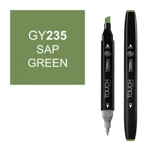 ShinHan Art TOUCH Twin Sap Green Marker: Black, Green, Double-Ended, Alcohol-Based, Refillable, Dual, (model 1110235-GY235), price per each