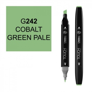 ShinHan Art TOUCH Twin Cobalt Green Pale Marker: Black, Green, Double-Ended, Alcohol-Based, Refillable, Dual
