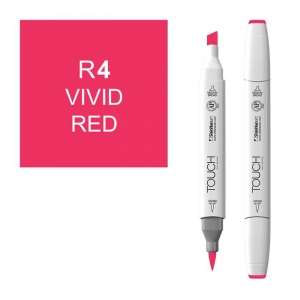 ShinHan Art TOUCH Twin Brush Vivid Red Marker: White, Red/Pink, Double-Ended, Alcohol-Based, Refillable, Dual, (model 1210004-R4), price per each