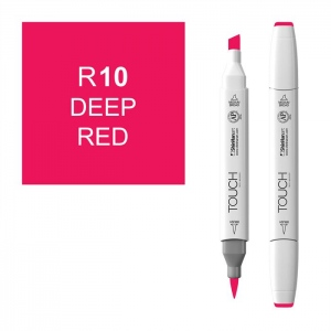 ShinHan Art TOUCH Twin Brush Deep Red Marker: White, Red/Pink, Double-Ended, Alcohol-Based, Refillable, Dual, (model 1210010-R10), price per each