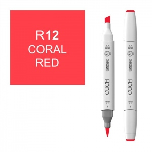 ShinHan Art TOUCH Twin Brush Coral Red Marker: White, Red/Pink, Double-Ended, Alcohol-Based, Refillable, Dual, (model 1210012-R12), price per each