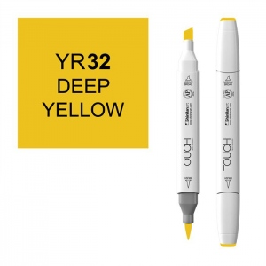 ShinHan Art TOUCH Twin Brush Deep Yellow Marker: White, Yellow, Double-Ended, Alcohol-Based, Refillable, Dual, (model 1210032-YR32), price per each