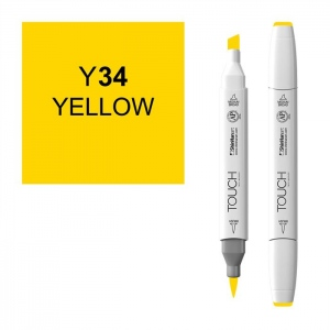 ShinHan Art TOUCH Twin Brush Yellow Marker: White, Yellow, Double-Ended, Alcohol-Based, Refillable, Dual, (model 1210034-Y34), price per each