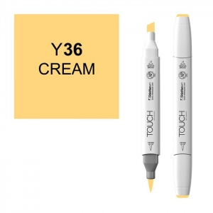 ShinHan Art TOUCH Twin Brush Cream Marker: White, Yellow, Double-Ended, Alcohol-Based, Refillable, Dual, (model 1210036-Y36), price per each