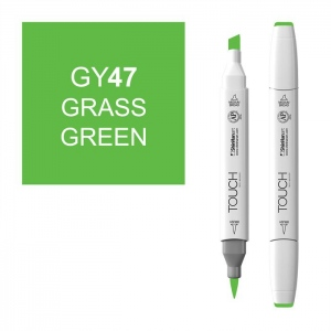 ShinHan Art TOUCH Twin Brush Grass Green Marker: White, Green, Double-Ended, Alcohol-Based, Refillable, Dual, (model 1210047-GY47), price per each