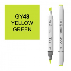 ShinHan Art TOUCH Twin Brush Yellow Green Marker: White, Green, Double-Ended, Alcohol-Based, Refillable, Dual, (model 1210048-GY48), price per each