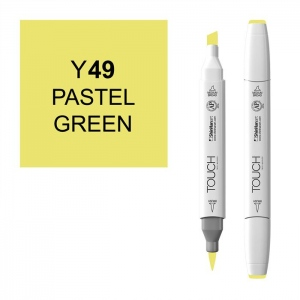ShinHan Art TOUCH Twin Brush Pastel Green Marker: White, Green, Double-Ended, Alcohol-Based, Refillable, Dual, (model 1210049-Y49), price per each