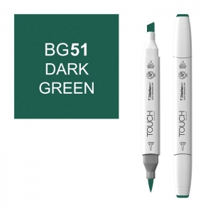 ShinHan Art TOUCH Twin Brush Dark Green Marker: White, Green, Double-Ended, Alcohol-Based, Refillable, Dual