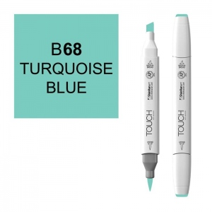ShinHan Art TOUCH Twin Brush Turquoise Blue Marker: White, Blue, Double-Ended, Alcohol-Based, Refillable, Dual, (model 1210068-B68), price per each
