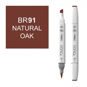 ShinHan Art TOUCH Twin Brush Natural Oak Marker: White, Brown, Double-Ended, Alcohol-Based, Refillable, Dual, (model 1210091-BR91), price per each