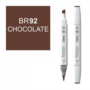 ShinHan Art TOUCH Twin Brush Chocolate Marker: White, Brown, Double-Ended, Alcohol-Based, Refillable, Dual, (model 1210092-BR92), price per each