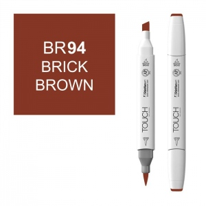 ShinHan Art TOUCH Twin Brush Brick Brown Marker: White, Brown, Double-Ended, Alcohol-Based, Refillable, Dual, (model 1210094-BR94), price per each