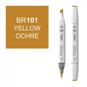 ShinHan Art TOUCH Twin Brush Yellow Ochre Marker: White, Brown, Double-Ended, Alcohol-Based, Refillable, Dual