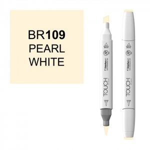 ShinHan Art TOUCH Twin Brush Pearl White Marker: White, White/Ivory, Double-Ended, Alcohol-Based, Refillable, Dual, (model 1210109-BR109), price per each
