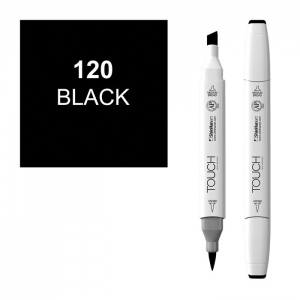 ShinHan Art TOUCH Twin Brush Black Marker: White, Black/Gray, Double-Ended, Alcohol-Based, Refillable, Dual, (model 1210120-120), price per each