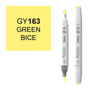 ShinHan Art TOUCH Twin Brush Green Bice Marker: White, Yellow, Double-Ended, Alcohol-Based, Refillable, Dual, (model 1210163-GY163), price per each