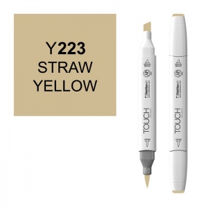 ShinHan Art TOUCH Twin Brush Straw Yellow Marker: White, Yellow, Double-Ended, Alcohol-Based, Refillable, Dual, (model 1210223-Y223), price per each