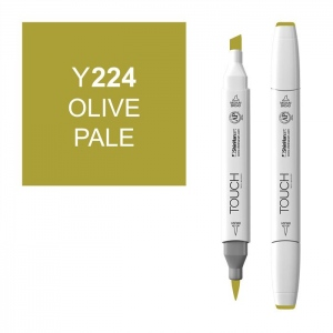 ShinHan Art TOUCH Twin Brush Olive Pale Marker: White, Green, Double-Ended, Alcohol-Based, Refillable, Dual, (model 1210224-Y224), price per each