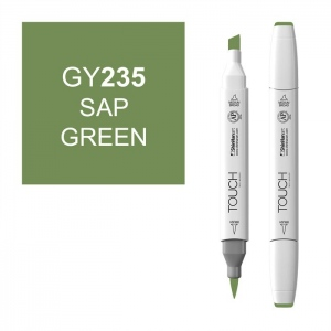 ShinHan Art TOUCH Twin Brush Sap Green Marker: White, Green, Double-Ended, Alcohol-Based, Refillable, Dual, (model 1210235-GY235), price per each
