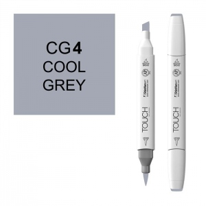 ShinHan Art TOUCH Twin Brush Cool Grey 4 Marker: White, Black/Gray, Double-Ended, Alcohol-Based, Refillable, Dual, (model 1212040-CG4), price per each