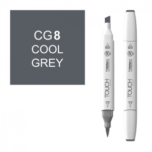 ShinHan Art TOUCH Twin Brush Cool Grey 8 Marker: White, Black/Gray, Double-Ended, Alcohol-Based, Refillable, Dual, (model 1212080-CG8), price per each