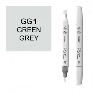 ShinHan Art TOUCH Twin Brush Green Grey 1 Marker: White, Black/Gray, Double-Ended, Alcohol-Based, Refillable, Dual, (model 1213010-GG1), price per each