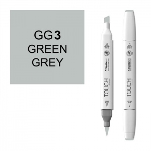 ShinHan Art TOUCH Twin Brush Green Grey 3 Marker: White, Black/Gray, Double-Ended, Alcohol-Based, Refillable, Dual, (model 1213030-GG3), price per each