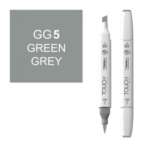 ShinHan Art TOUCH Twin Brush Green Grey 5 Marker: White, Black/Gray, Double-Ended, Alcohol-Based, Refillable, Dual