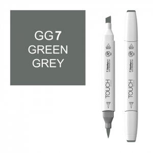 ShinHan Art TOUCH Twin Brush Green Grey 7 Marker: White, Black/Gray, Double-Ended, Alcohol-Based, Refillable, Dual, (model 1213070-GG7), price per each