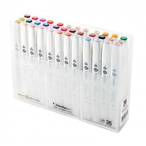 ShinHan Art TOUCH Twin Brush 36-Color Brush & Medium Broad Nib Marker Set: White, Double-Ended, Alcohol-Based, Refillable, Dual, (model 1213600), price per set