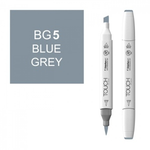 ShinHan Art TOUCH Twin Brush Blue Grey 5 Marker: White, Black/Gray, Double-Ended, Alcohol-Based, Refillable, Dual, (model 1214050-BG5), price per each
