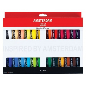 Royal Talens Amsterdam® All Acrylic Standard Ser 24-Color Paint Set 20ml: Multi, Tube, 20 ml, Acrylic, (model 17820424), price per set
