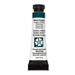Daniel Smith Extra Fine™ Watercolor 5ml Phthalo Turquoise: Blue, Tube, 5 ml, Watercolor, (model 284610080), price per tube