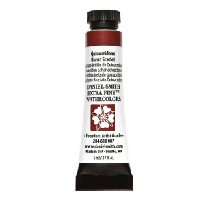Daniel Smith Extra Fine™ Watercolor 5ml Quinacridone Burnt Scarlet: Red/Pink, Tube, 5 ml, Watercolor, (model 284610087), price per tube